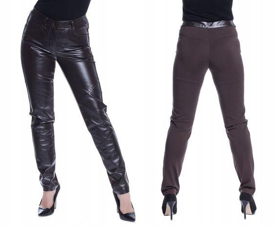 Alba Moda Włoskie spodnie skórzane skóra naturalna rozm. 34 xs nowe