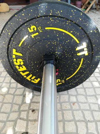 Kit Barra Olímpica 20kg + 3 Pares de Bumpers 5, 10 e 15kg