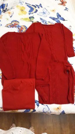 Фемели лук новогодний family look Красный свитер пуловер реглан