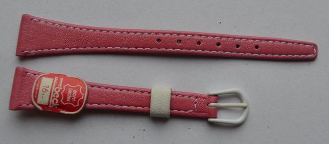 Różowy damski pasek do zegarka 14 mm. Nowy! Skórzany! Wysoka jakość!