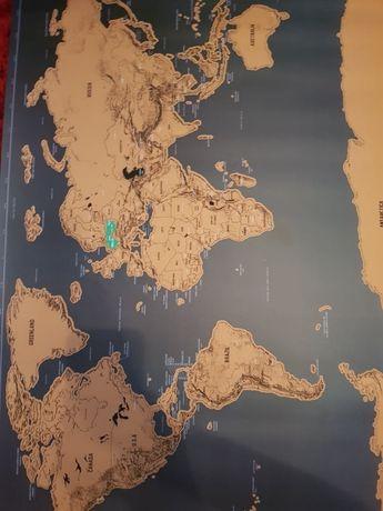 Mapa zdrapka - świat - czarno - złota