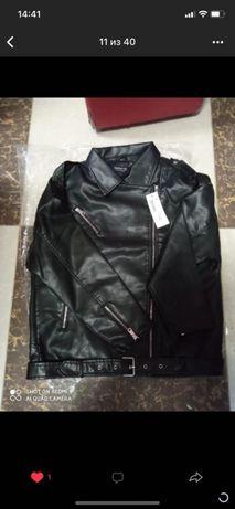 Новая куртка осень, чёрная кожанка оверсайз