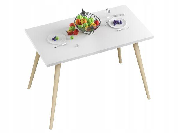 Stół stolik kuchenny do jadalni kuchni biały blat nogi buk 90x60