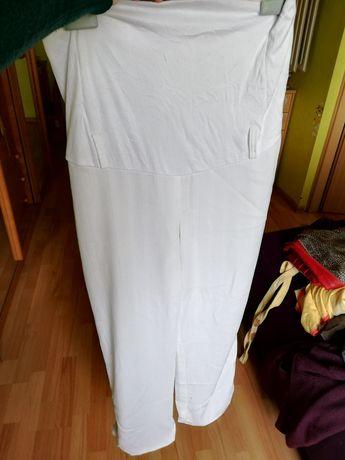 Białe letnie spodnie ciążowe