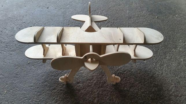 Samolot duży dwuplatowiec drewno zabawka