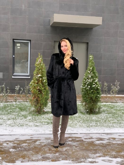 черная норковая шуба, модель френч 100 см Киев - изображение 1