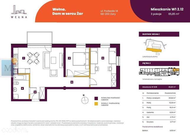 Wełna, 65 m2, 3 pokoje, 2 piętro, winda, balkon