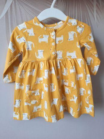 Трикотажное платье с котиками Carter's 6m