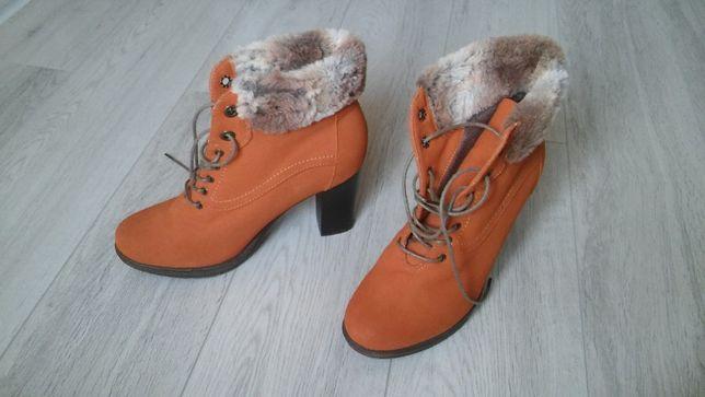Buty damskie zimowe zamszowe z futerkiem