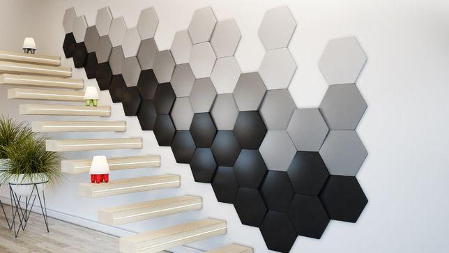 Panele 3d Heksagon Hexagn Panel Studio Plaster Miodu Panel Ścienny