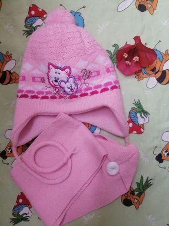 Шапка шапочка для новорождённой девочки зима с шарфиком