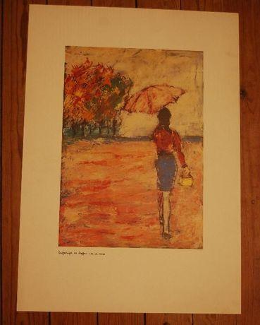 Litografia Rapariga do Chapeu Rosa - Mestre Martins Gomes