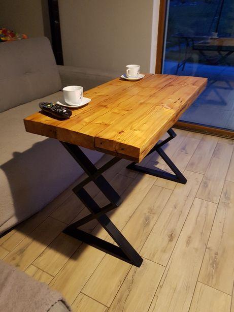Stół, stolik klepsydra metal drewno