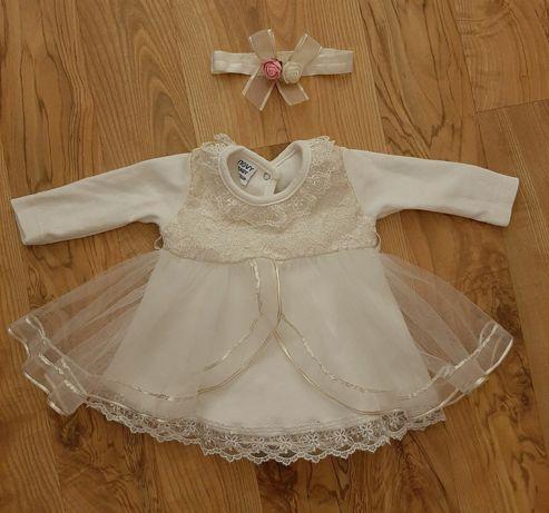 Sukienka do chrztu, opaska i bolerko 62 cm