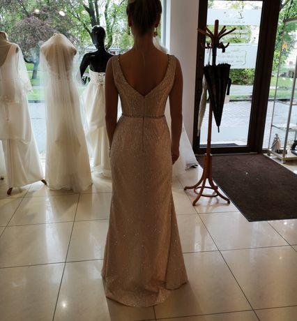 Suknia wieczorowa ślubna Maxima bridal mega błyszcząca z rozcięciem