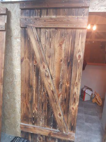 Skrzydło drzwi drewniane retro ze starego drewna