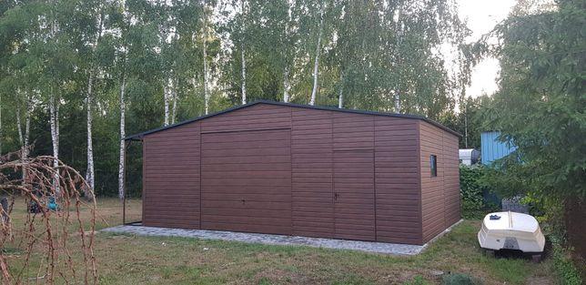 8x6 Garaż blaszany wiata konstrukcja stalowa z Profila drewnopodobny