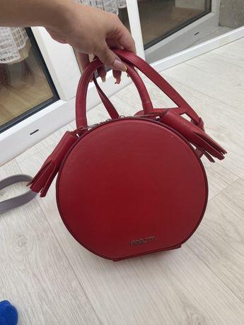 Кожаная сумка Fidelitti, круглая сумка через плечо Кожа