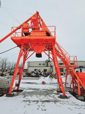 Wezel betoniarski 30m3/h 0,75m3 zbiorniki na kruszywo 3x15, silos 60T