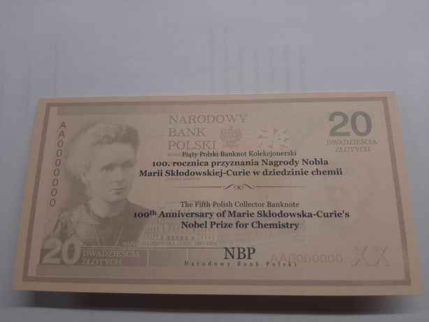 Banknot Maria Skłodowska Curie  20 zł