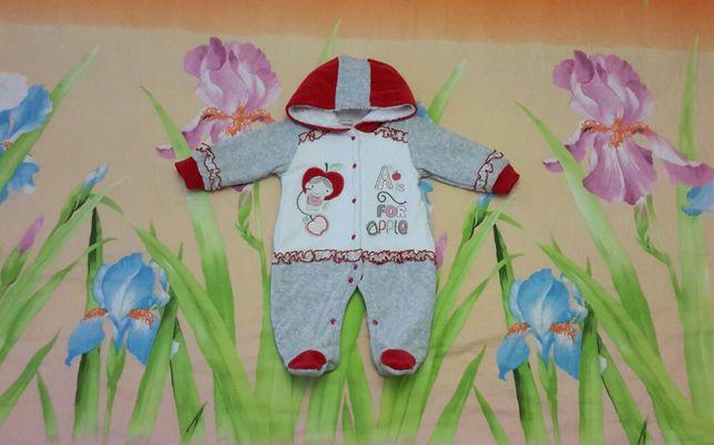 Человечек комбинезон утеплённый, одежда для новорождённых