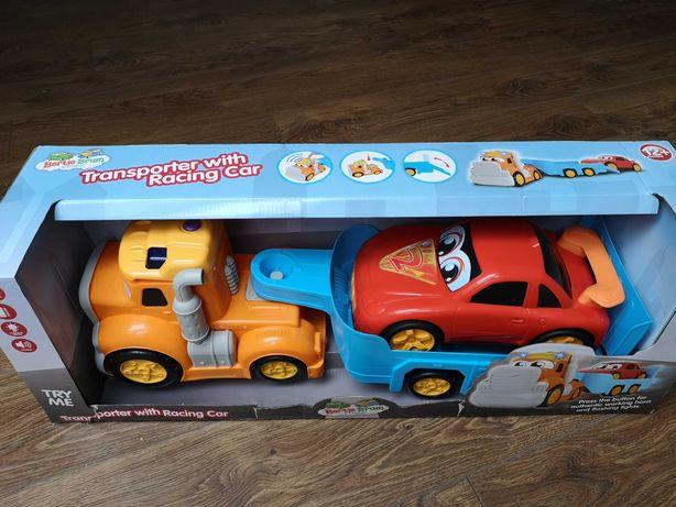 Samochód zabawka, Duża Laweta NOWA przyczepa, transporter Dźwięki