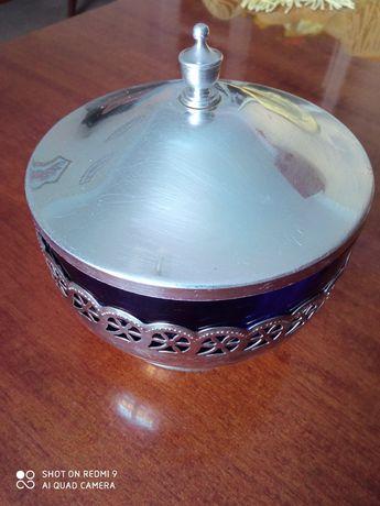 Сахарница конфетница ваза СССР кобальт тарелки