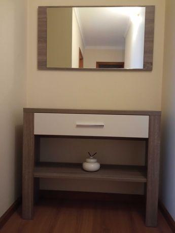 Espelho de hall entrada cor cinza carvalho