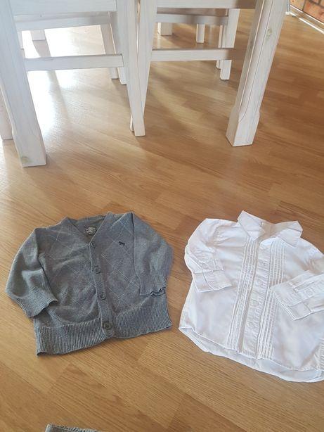 Elegancki zestaw H&M- koszula plus sweterek rozpinany r. 74