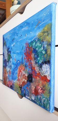 """Obraz ręcznie malowany płótno, """"Rafa koralowa"""" 30x40"""