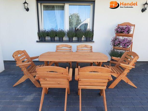 Meble ogrodowe drewniane naturalne zestaw stół krzesła ławka zestaw