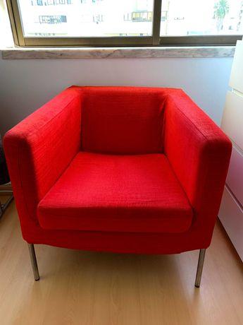 Sofá Poltrona Vermelho Ikea KLAPPSTA