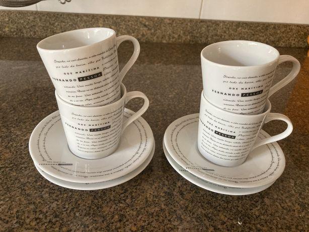 4 chávenas e pires café Fernando Pessoa da SPAL