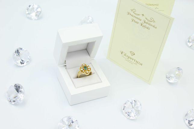 Piękny stary pierścionek , BRYLANTY, SZMARAGD 18K!