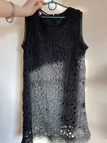 Черное платье мини черное с кружевами цветы