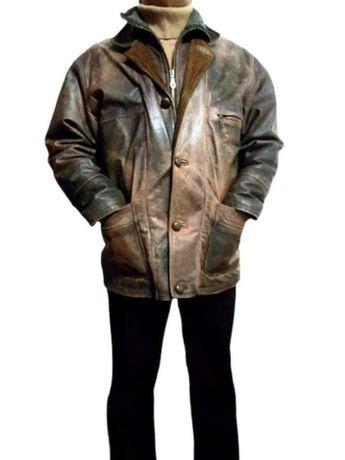 Кожаная утепленная мужская куртка пилот woodlands, большой размер