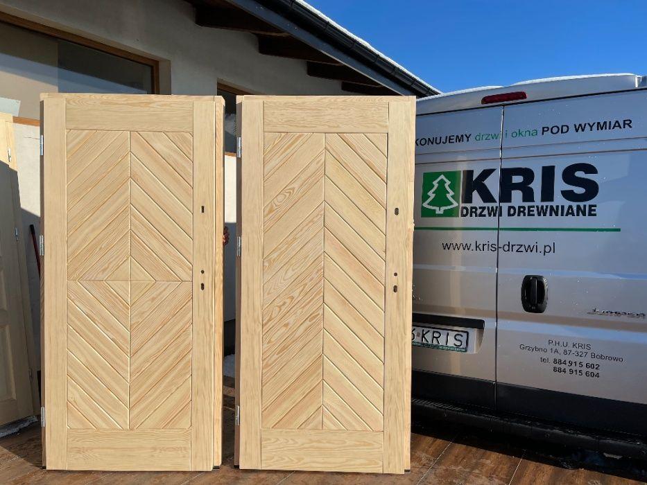 Drzwi zewnętrzne drewniane sosnowe ocieplane OD RĘKI ,CAŁY KRAJ Grzybno - image 1