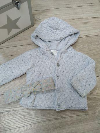 Sweterek niemowlęcy i opaska
