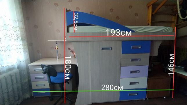 Подростковая кровать чердак. Стол, шкаф, комод. Стенка детская.