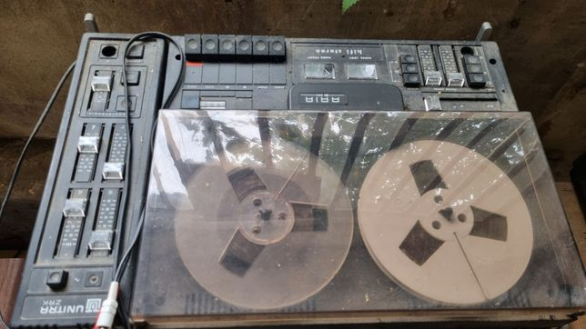 Dwa stare magnetofony szpulowe Aria Diora
