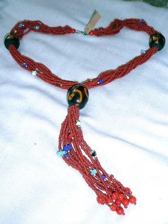 Naszyjnik czerwony styl hippie