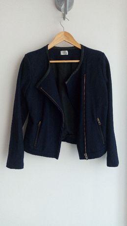 Krótka kurtka żakiet wełniana 38 skóra