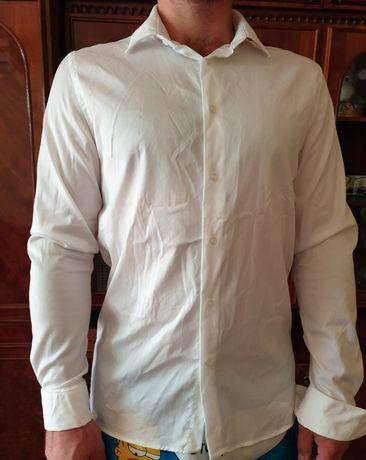 Новая белая рубашка на запонках zara,белая рубашка новая мужская