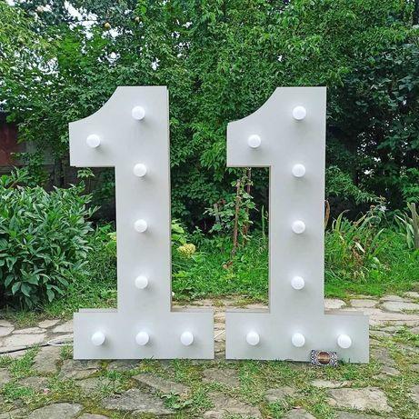 Одиничка цифра лампи единичка банер декор фотозона день народження