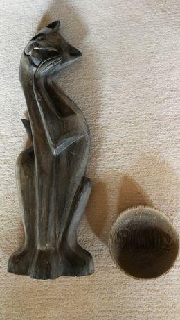 Rzeźba z drewna + drewniana miska.