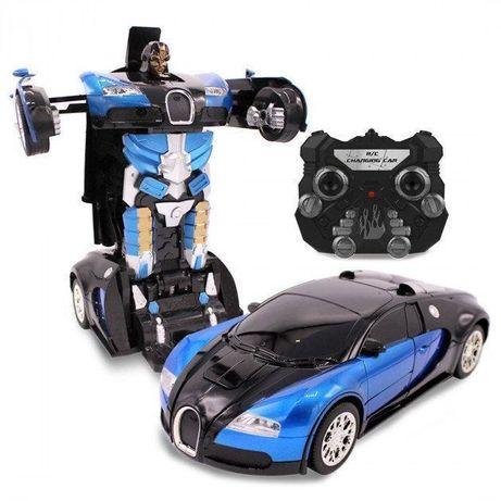 Машинка радиоуправляемая трансформер Robot Car Bugatti Size12 СИНЯЯ  Р