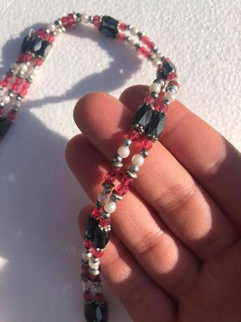 Pulseira/colar magnético, rosa e preto, vintage