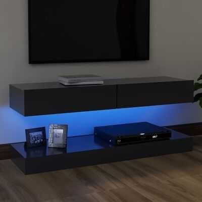 Móvel de TV com luzes LED 120x35 cm cinzento