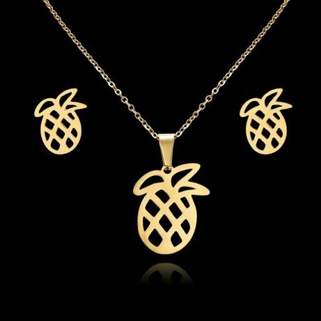 Złote ANANASY Komplet Biżuterii Naszyjnik + Kolczyki