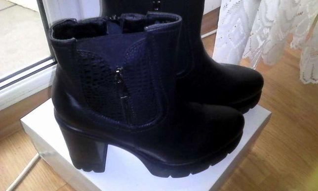 Botki buty damskie zima koturny gruby obcas